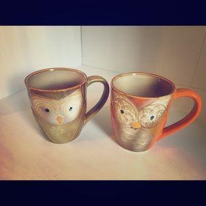Set of 2 ELITE Couture OWL Mugs CUPS Coffee Or Tea